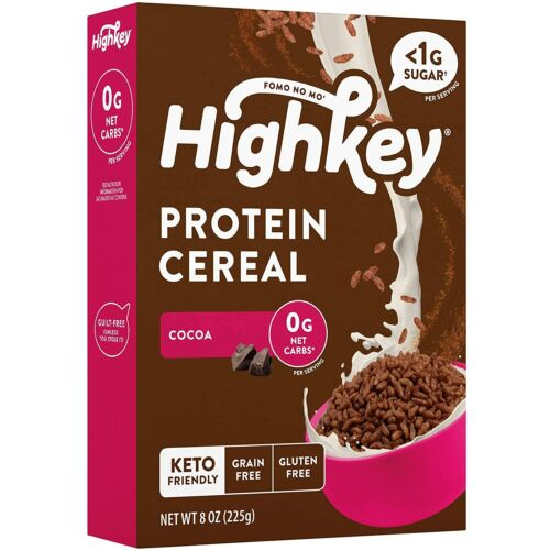 HighKey Low Carb Keto Paleo Cereal Protein Snacks for Breakfast, Cocoa, 225 gram