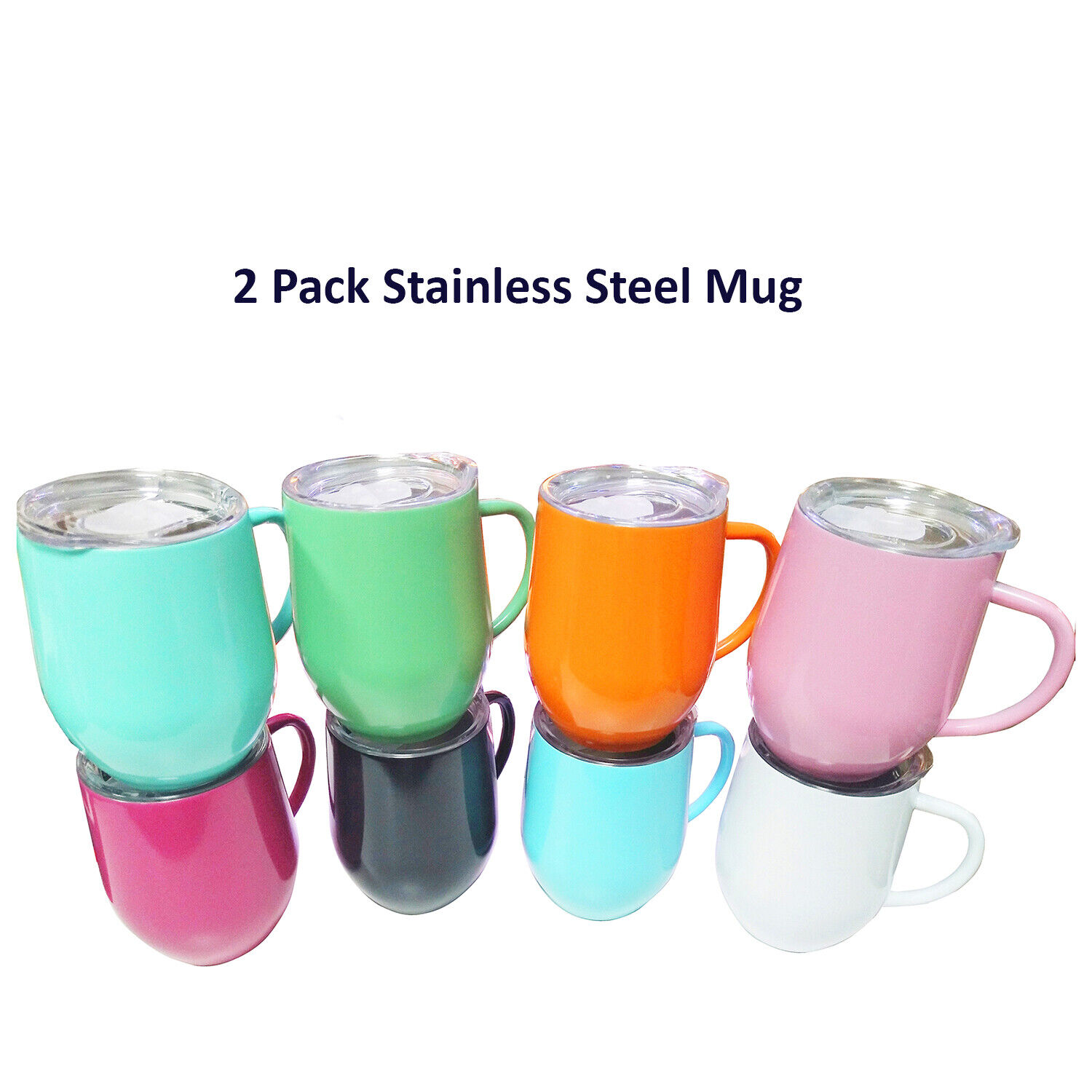 2 Pack 12 oz Stainless Steel Handle Mug Cup with Lid Duoble