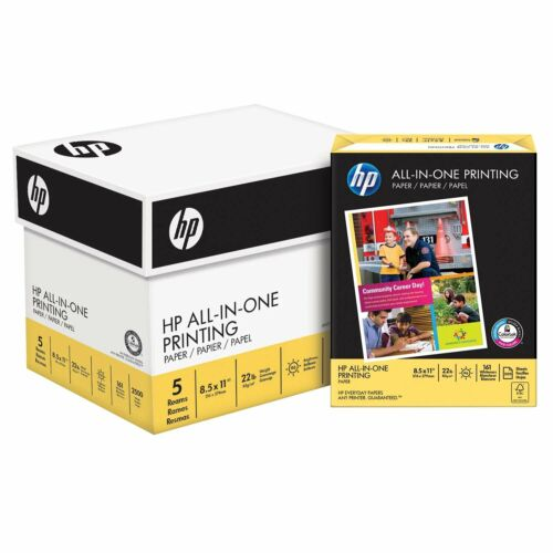 """HP All-in-One Copy Paper, 22lb, 96 Bright, 8 1/2"""" x 11"""", 2,500 Sheets"""
