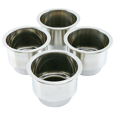 4pcs Stainless Steel Cup Drink Holder with Drain for Marine Boat Car Truck RV