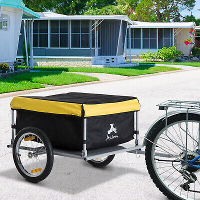 New Aosom Bicycle Bike Cargo Trailer Cart Carrier Shopping Yellow and Black