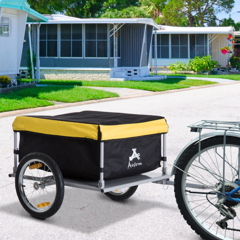 Bicycle Bike Cargo Trailer Cart Carrier Shopping Yellow and Black