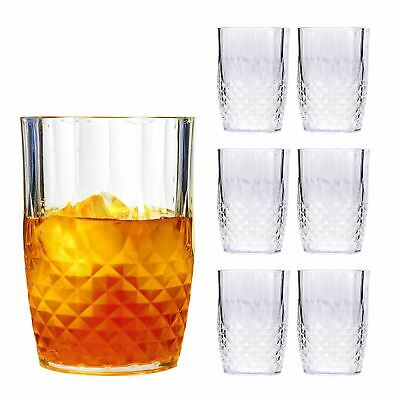6 x VINTAGE CRYSTAL WHISKEY DRINKING GLASSES COCKTAIL PLASTIC PICNIC PARTY NEW