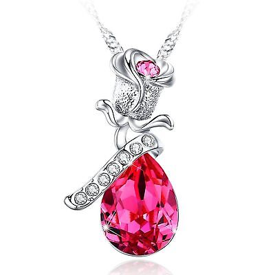 - Austrian Crystal Necklace Love Actually Pink Flower BLISS TOWN Women's Gift NEW