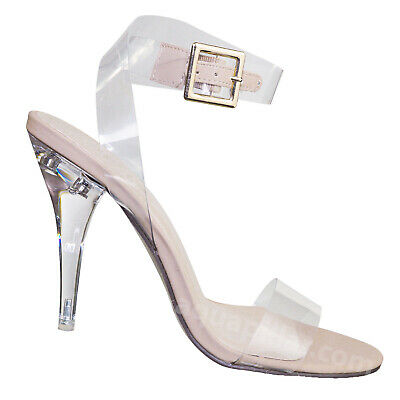 May2 Clear Lucite Ankle Strap Sandal - Women Transparent Acrylic High Heel](Clear Shoes Heels)