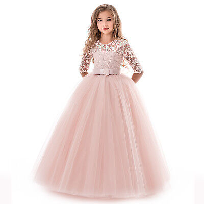 Flower Girl Dress Formal Lace Princess Party Holiday Bridesmaids Wedding Formal