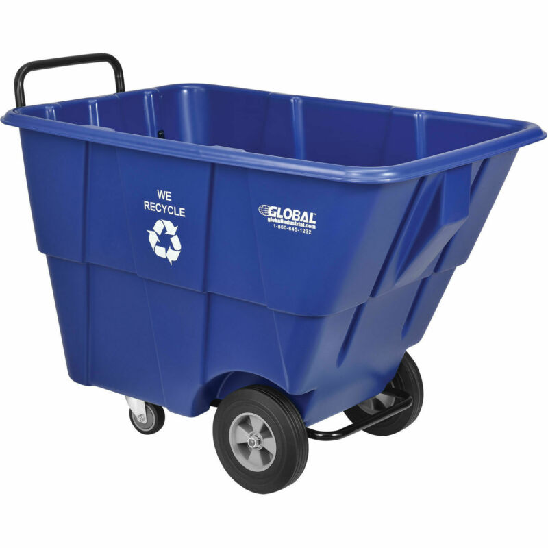 Deluxe Plastic Recycling Tilt Truck, 1/2 Cubic Yard, 750 Lb. Capacity, Blue