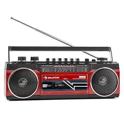 Retro Kassettenplayer Kassettenspieler Ghettoblaster Bluetooth Radio USB SD Rot