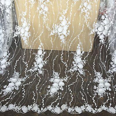Hochzeit Verkleidung DIY Tüll Rand 3D Blumen Stickerei Braut Spitze Stoff 1 Y (Diy Tüll Blumen)