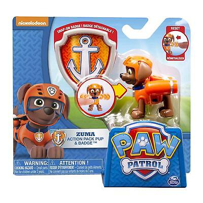 """Paw Patrol Action Pack Zuma Pup and Badge Jetpack Orange 3"""" Chocolate Labrador for sale  Crystal Lake"""