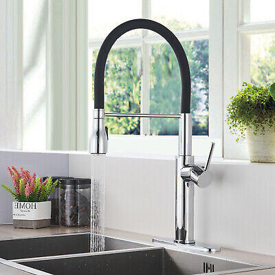 Kitchen Sink Faucet Pull Out Sprayer With Deck Plate Chrome Finish And Black