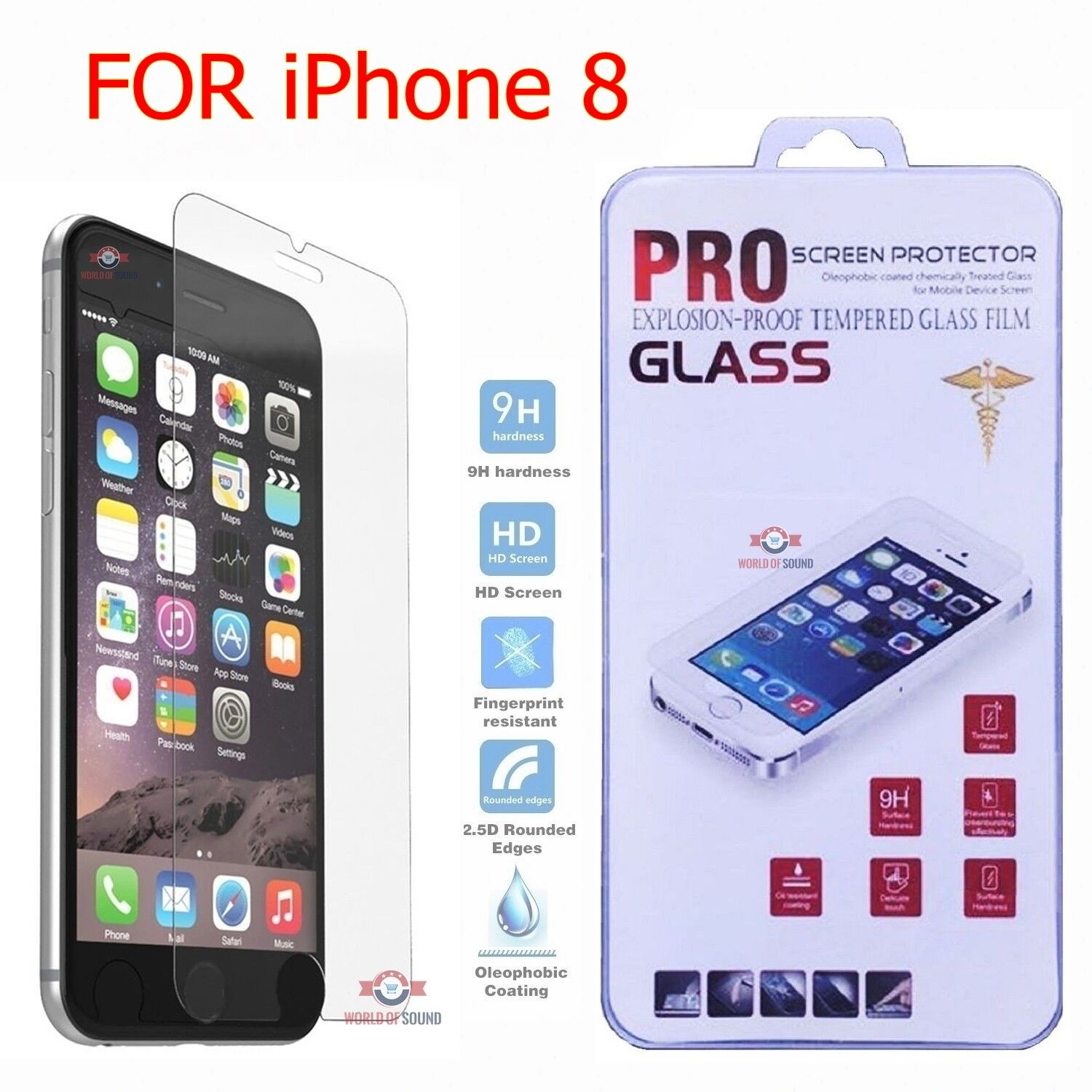 For iPhone 8 Tempered GLASS Screen Protector Bubble Free HD