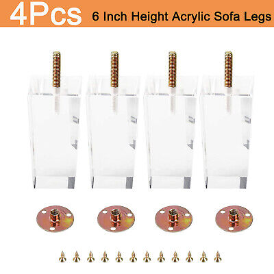 "Furniture Legs Acrylic Sofa Legs Pyramid 6"" Clear Modern Cabinet Legs Pack of 4"