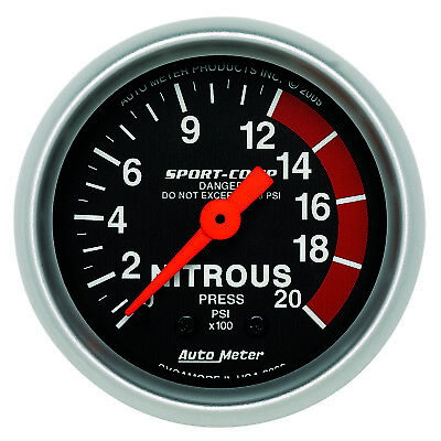 Autometer 3328 Sport-Comp Nitrous pressure Gauge 2-1/16 in., Mechanical