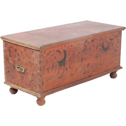 """Primitive Antique 51"""" Ball Foot Blanket Chest Original Paint & Forged Hardware"""