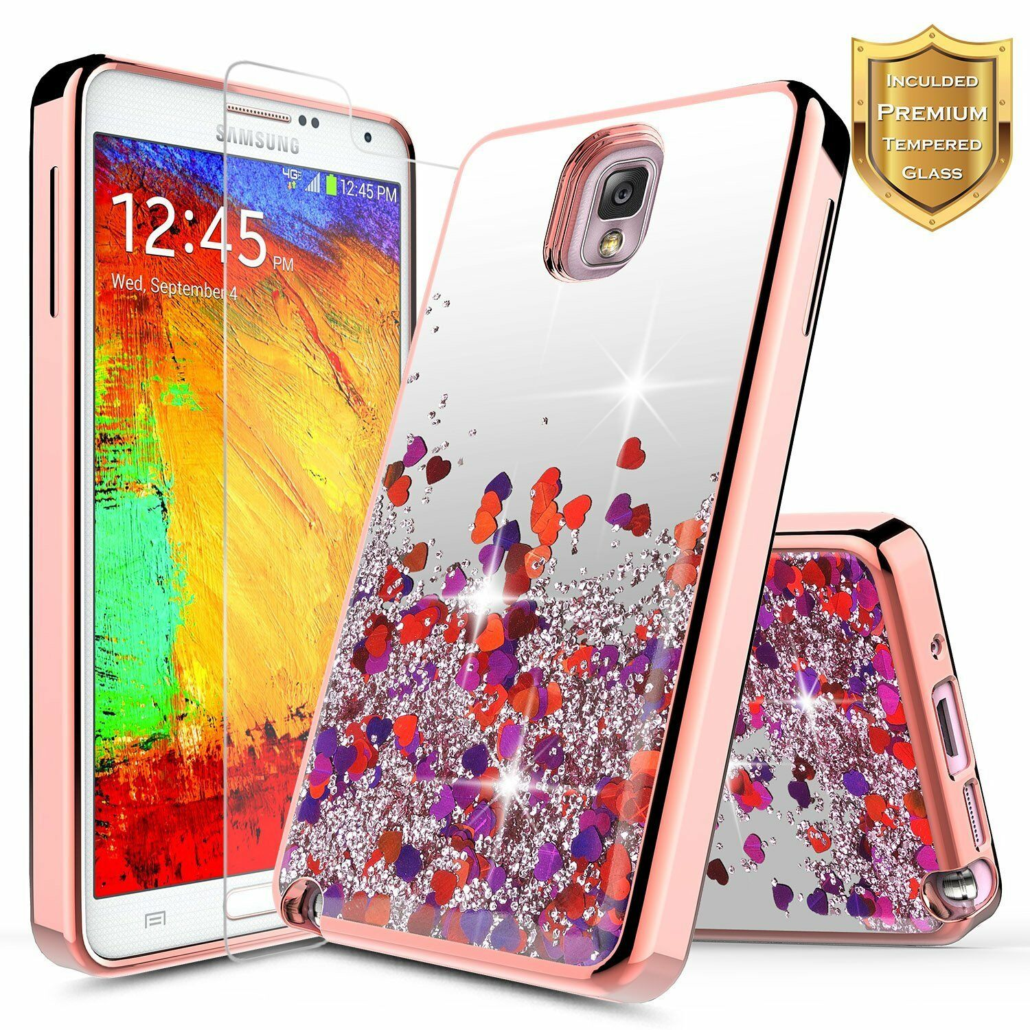 For Samsung Galaxy Note 3 Liquid Glitter Bling TPU Case Cover + Tempered Glass