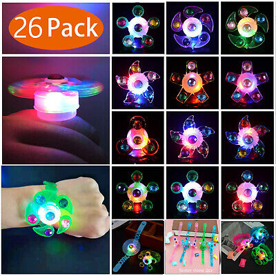 26Pcs LED Party Favor Spin Relief Anxiety Toy Light Up Glow Flashing decora - Flashing Toys