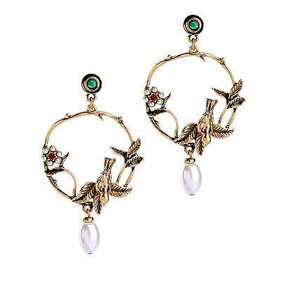KISS ME Gold Plated Birds Flowers Big Earrings for Women ed01396