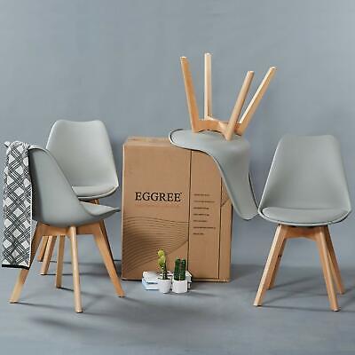 4x Tulip Dining Chair Eiffel Style Solid Wood Legs Plastic Padded Seat Grey Chai