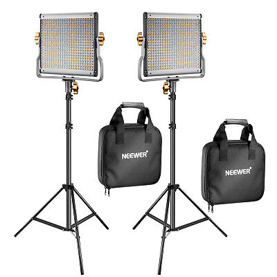 Neewer 2 set Dimmable Bi-Color 480 LED Video Light with Light Stand Carry Bag