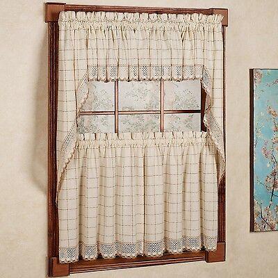 Adirondack Cotton Kitchen Window Curtains - Toast - Tiers, Valance or Swag ()