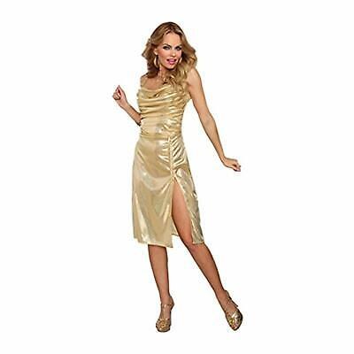 Disco Inferno 70's Retro Gold Dancer Girl Fancy Dress Halloween Adult -