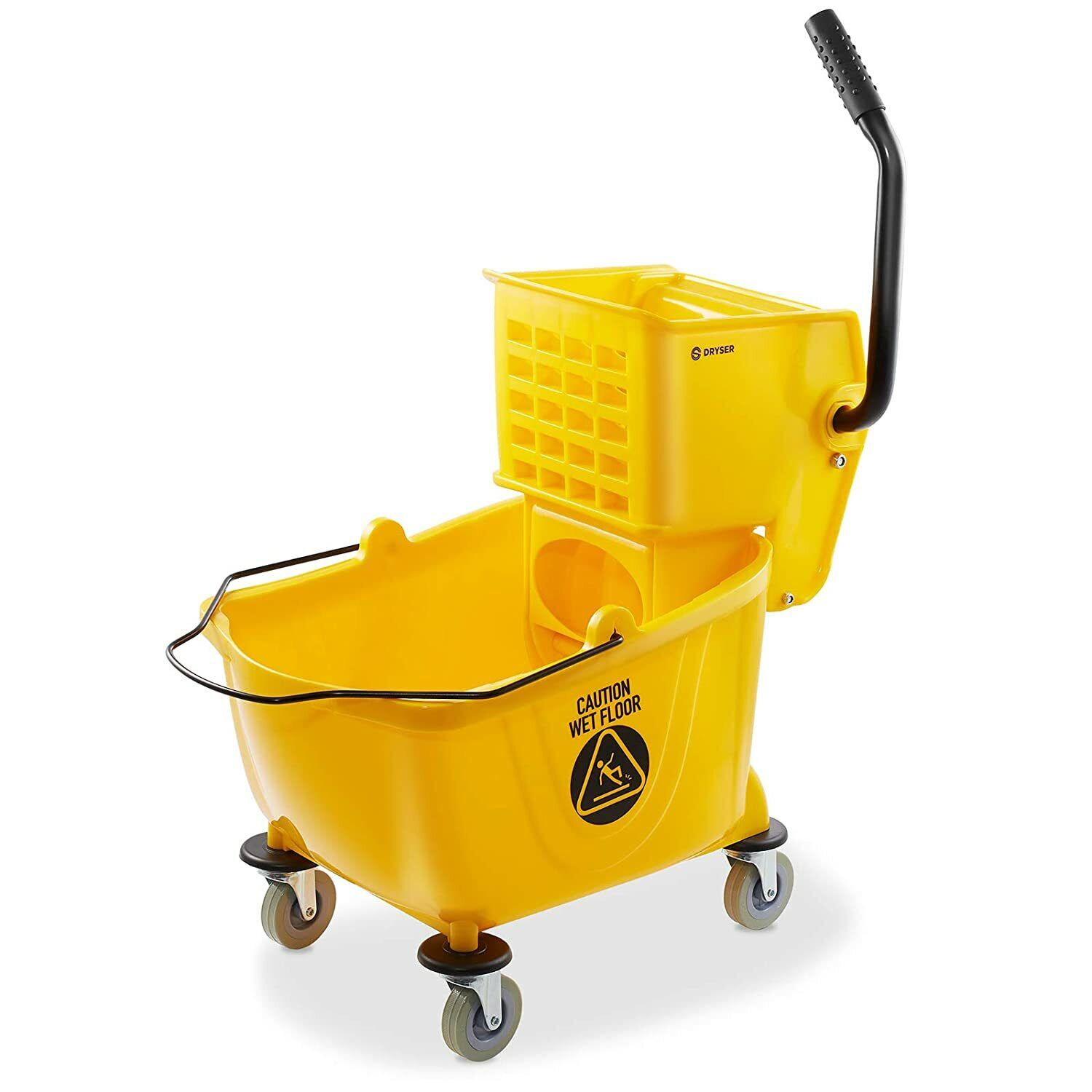 Best NEW NEW - DRYSER COMMERCIAL MOP BUCKET WITH SIDE PRESS WRINGER, 26 QUART, YELLOW