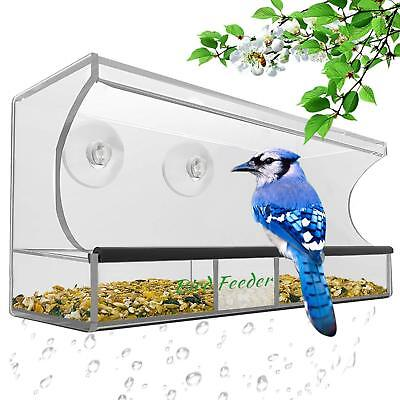 Bird Feeder, Window Bird House Crystal Clear Acrylic with Removable Tray, Drai
