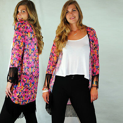 LADIES PINK FLORAL KIMONO CARDIGAN W BLACK FRINGE EDGING 3/4 SLEEVE 8 10 12 14 - Pink Floral Cardigan
