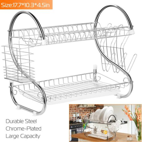 2 Tiers Dish Cup Drying Rack Holder Organizer Drainer Dryer