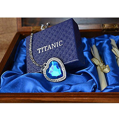 Titanic Necklace Heart Of The Ocean Blue Crystal Pendant Pure Silver Wooden - Crystal Pendant Silver Necklace