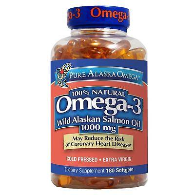 Pure Alaska Omega 3 Wild Alaskan Salmon Oil 1000Mg  180 Softgels  Heart Health