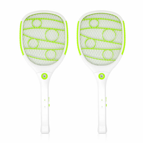 2PK Rechargeable Battery Powered Fly Swatter with LED Light, Green