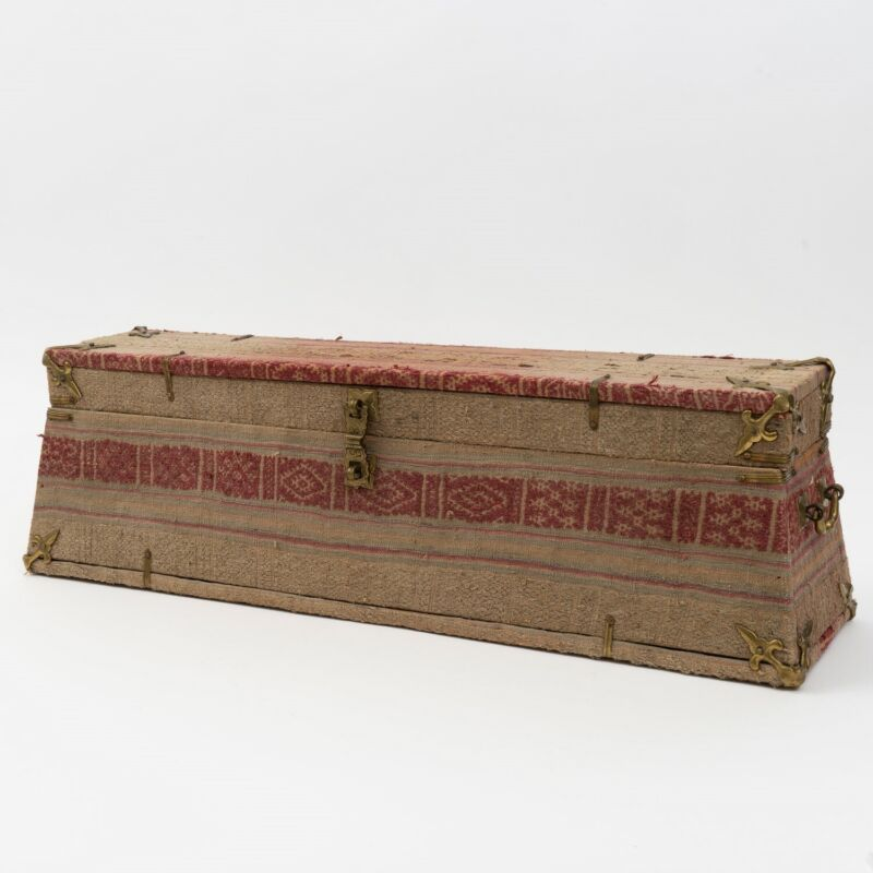 "VTG Bhutan Cloth Storage Treasure Box Brass Fittings 6.75"" T x 5.75"" D x 22"" W"