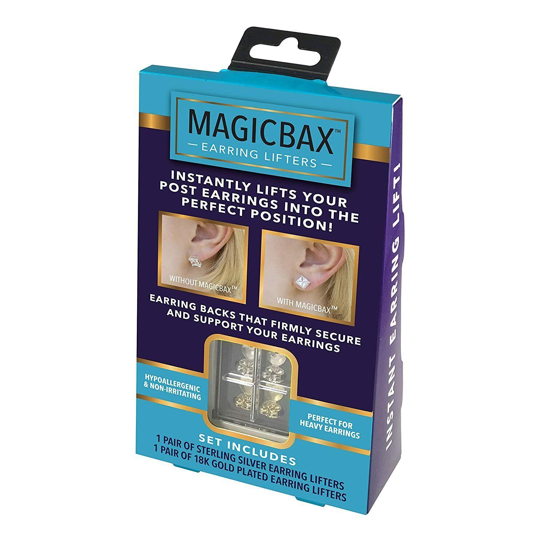 Instant Earring Lift Adjustable Hypoallergenic For Post Earring Magic Bax 2 Pair Earrings