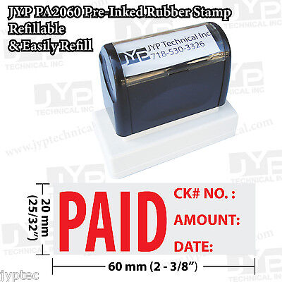 New Jyp Pa2060 Pre-inked Rubber Stamp W.paid With Ck No. Amount And Date