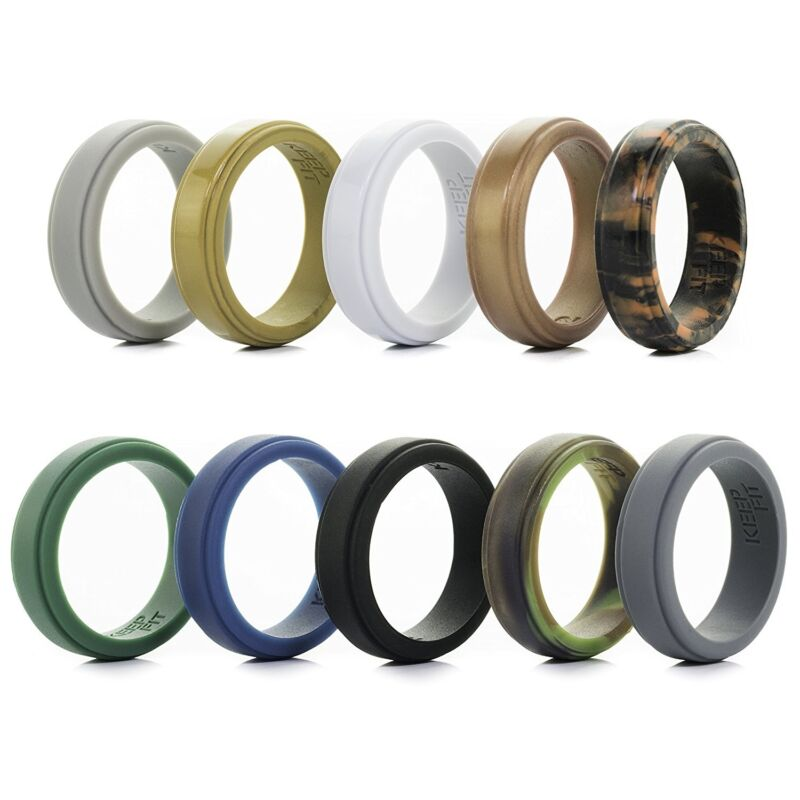Silicone Ring - Silicone Wedding Ring Bands For Men 10 Pack Step Edge