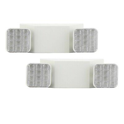 2 Pack Led Commercial Emergency Light Fxtures Flame Rating Fire Exit Sign Ul