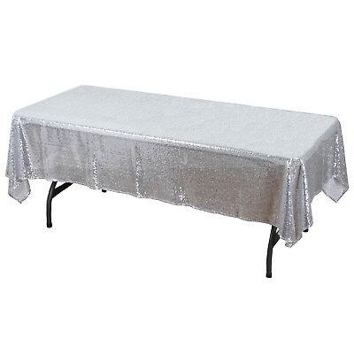 """Silver 60"""" x 102"""" Sequin Rectangular Tablecloth"""