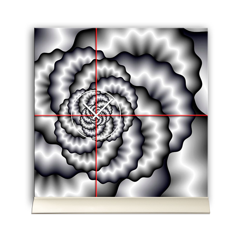 Ando Wohndesign: Tischuhr 30cmx30cm Inkl. Alu-Ständer -abstraktes Design