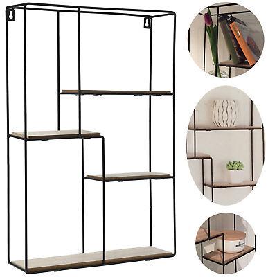 Rechteckige Ebene (Wandregal 4 Ebenen Setzkasten Wandboard Hängeregal Standregal Regal Holz Metall)