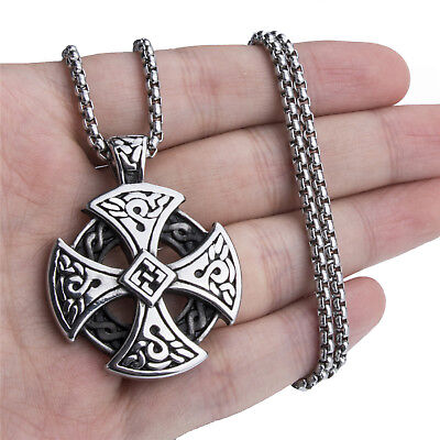 Mens Silver Celtic Cross Solid Stainless Steel Pendant Chain Necklace Set