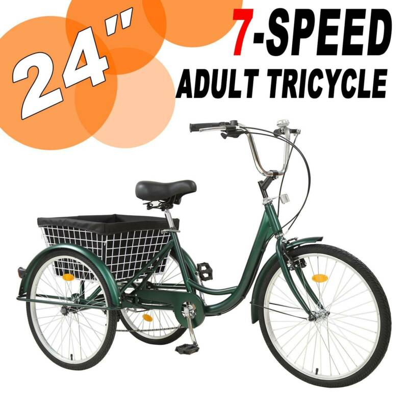 Adult Tricycle 24'' 7-Speed 3 Wheel Black Trike​ Shopping