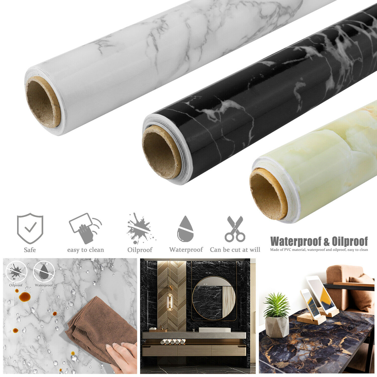 Home Decoration - Marble Contact Paper Self Adhesive Peel & Stick Wallpaper PVC Kitchen Countertop