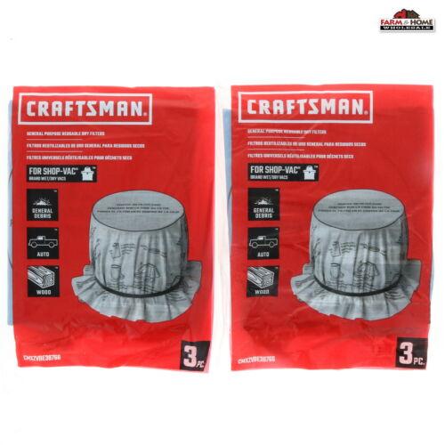 6 Craftsman Shop Vac Filters Dry Cloth Bags ~ New