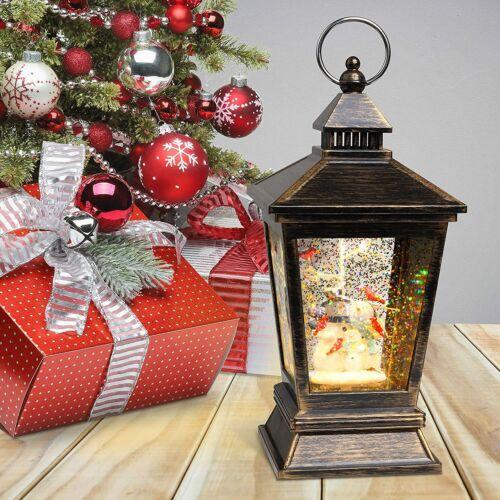 Christmas Snow Globe Lantern with Swirling Water Glittering - Retro Snowman Fam