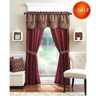 Unique Curtain Panel Valance Window Treatment Set Elegant Home Decor Living Room