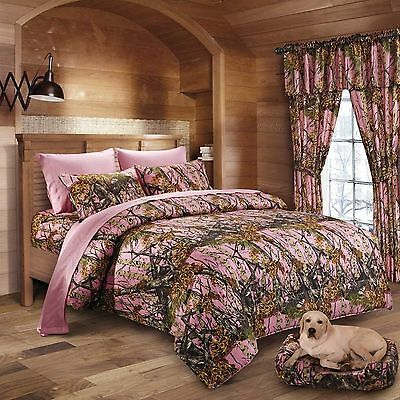 4 PC SET PINK CAMO COMFORTER AND SHEET SET TWIN SIZE CAMOUFLAGE    -