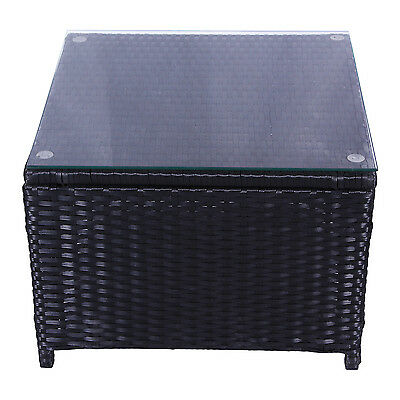 Outdoor Patio Rattan Wicker Glass Top Tea Table Garden Furniture New