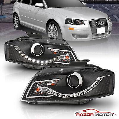 [R8 Style LED Strip] 2006 2007 2008 Audi A3 Projector Black Headlights Pair Audi Style Led Strip